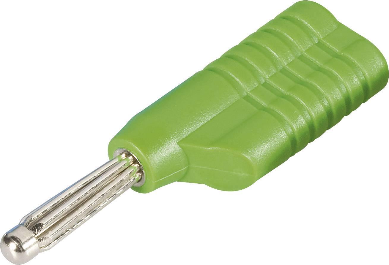 Banánový konektor Schnepp S 4041 S – zástrčka, rovná, Ø hrotu: 4 mm, zelená, 1 ks