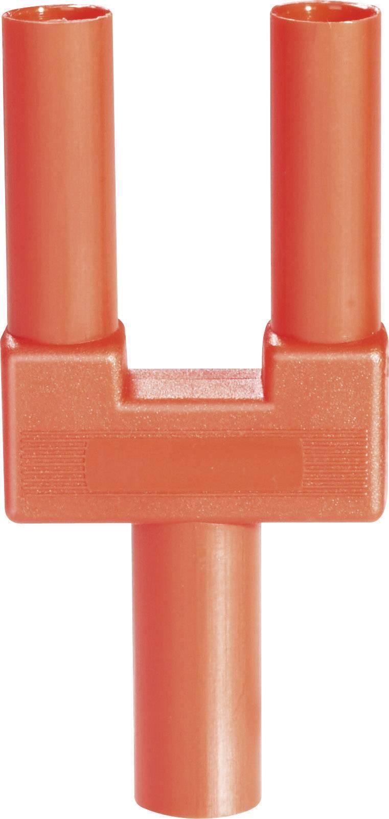 Bezpečnostný skratový mostík Schnepp SI-FK 19/4 mB rt, Ø hrotu 4 mm, rozostup hrotov 19 mm, červená, 1 ks