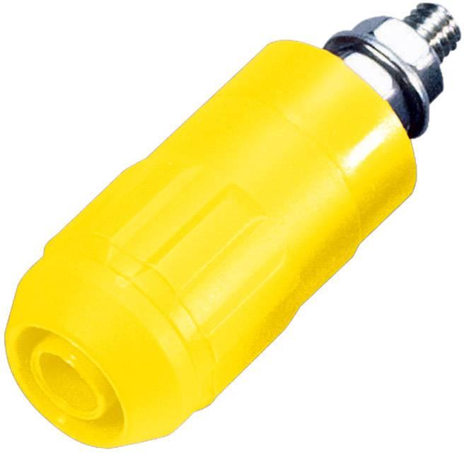 Laboratórna zásuvka Stäubli XUB-G – zásuvka, vstavateľná vertikálna, Ø hrotu: 4 mm, žltá, 1 ks