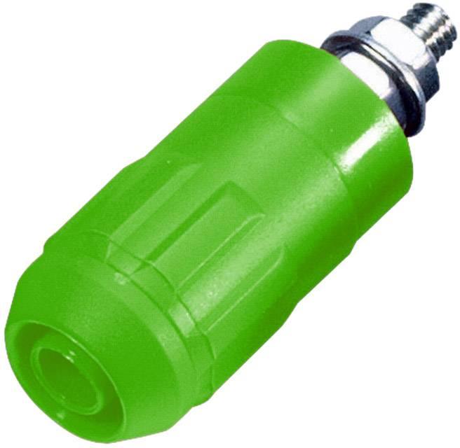 Laboratórna zásuvka Stäubli XUB-G – zásuvka, vstavateľná vertikálna, Ø hrotu: 4 mm, zelená, 1 ks