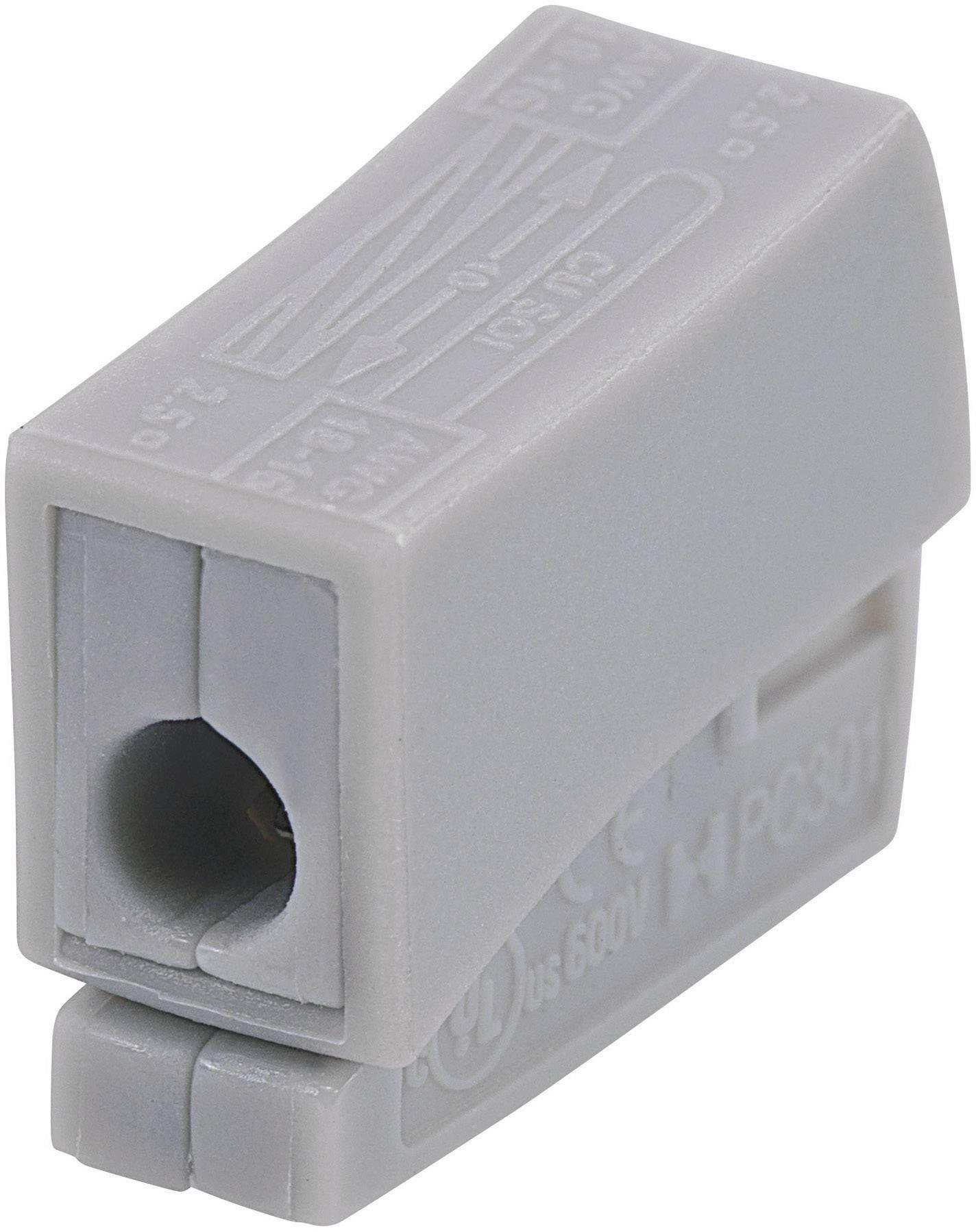 Svietidlová svorka na kábel s rozmerom 0.5-2.5 mm², pólů 2, 1 ks, sivá