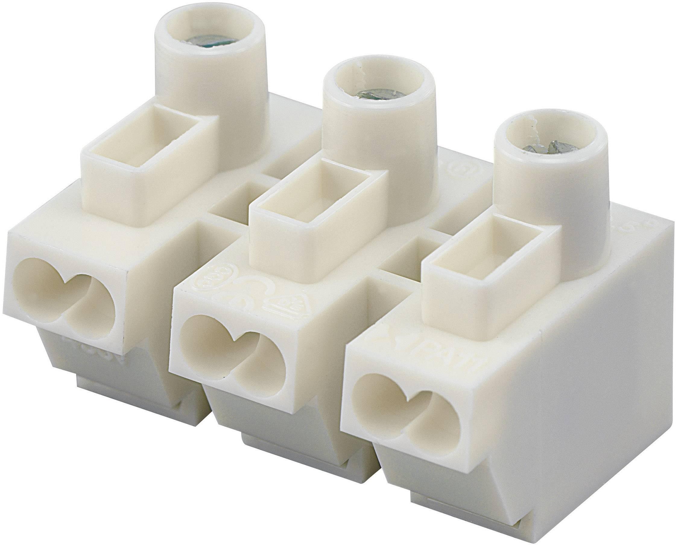 Prístrojová svorkovnica na kábel s rozmerom 0.5-1.5 mm², pólů 3, 1 ks, biela