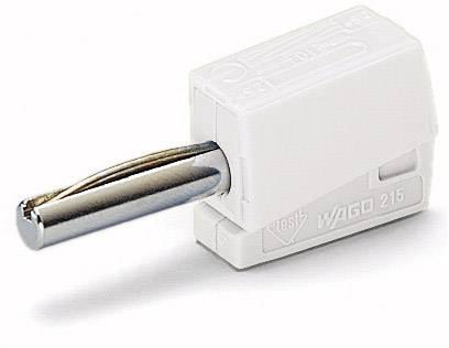 Banánový konektor WAGO – zástrčka, rovná, Ø hrotu: 4 mm, biela, 1 ks