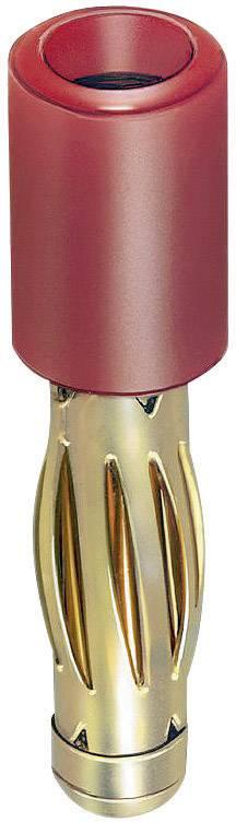 Prechodový konektor zástrčka 4 mm - zásuvka 2 mm Stäubli R4/2-A, červená, 1 ks