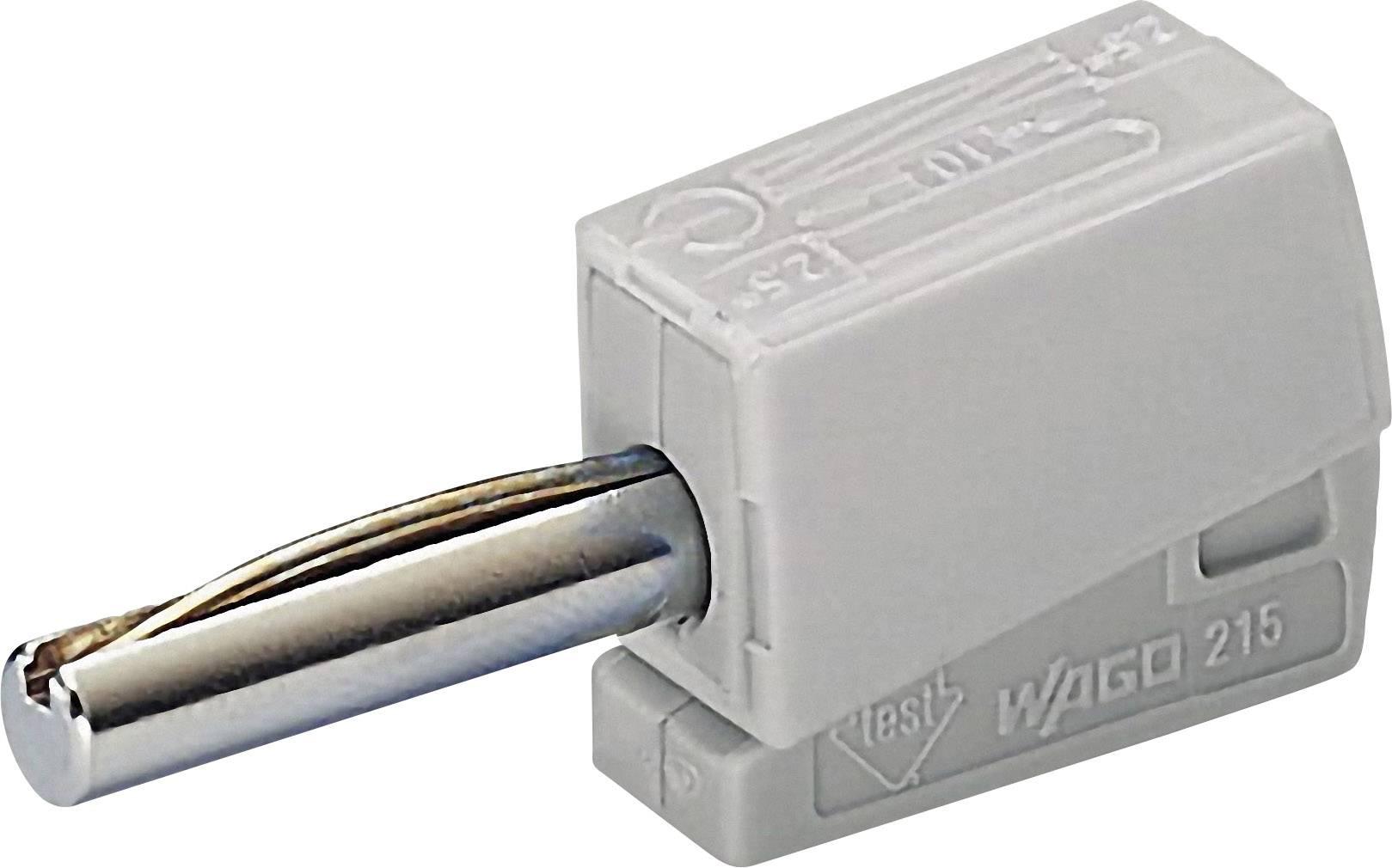 Banánový konektor WAGO – zástrčka, rovná, Ø hrotu: 4 mm, sivá, 1 ks