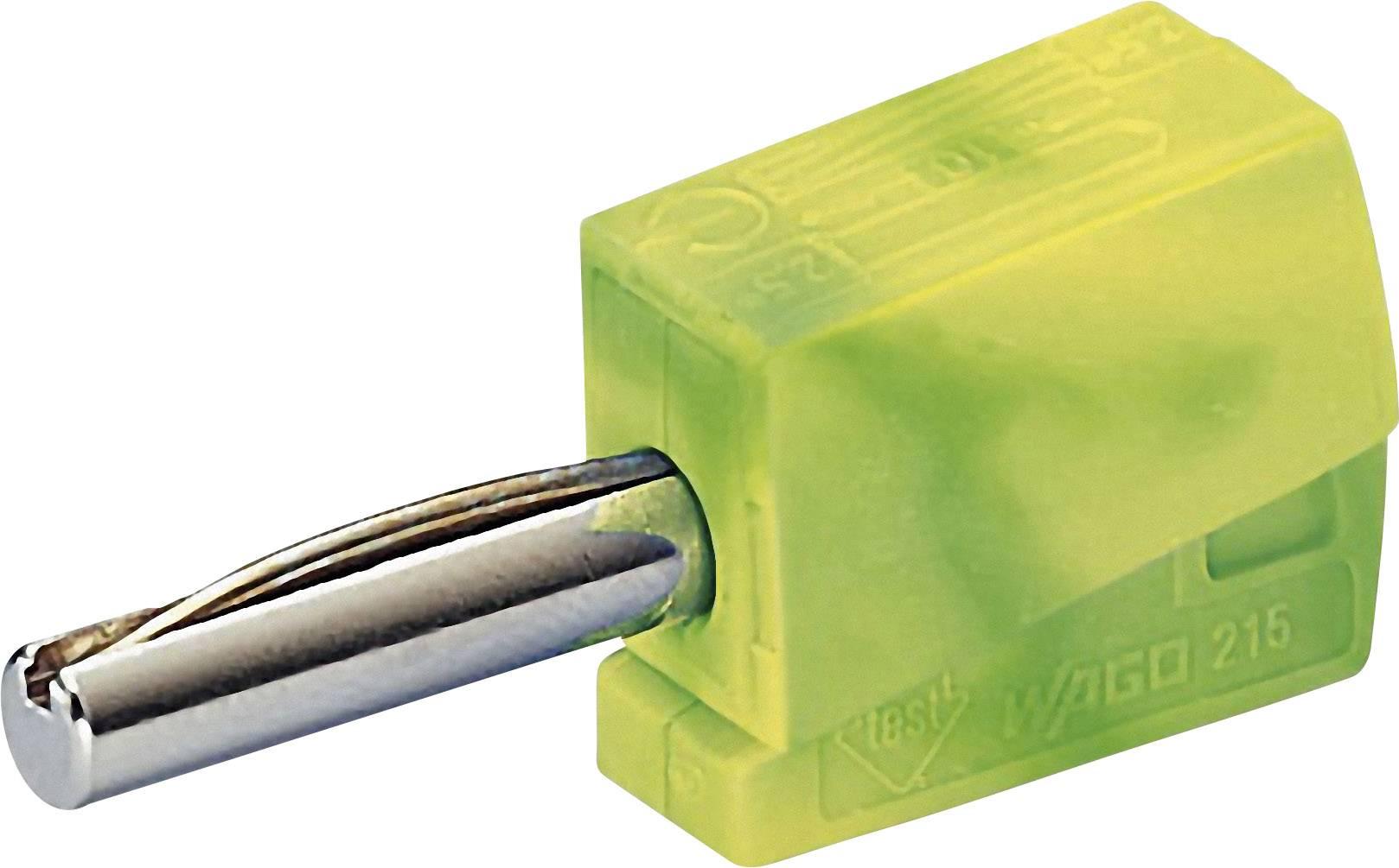 Banánový konektor WAGO – zástrčka, rovná, Ø hrotu: 4 mm, zelenožltá, 1 ks