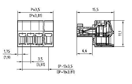 Zásuvkové púzdro na kábel PTR AKZ1550/2-3.81 51550020025F, 15.50 mm, pólů 2, rozteč 3.81 mm, 1 ks