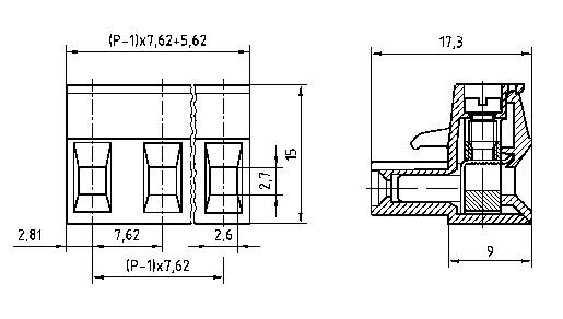 Zásuvkové púzdro na kábel PTR AKZ960/10-7.62 50960100021D, 74.20 mm, pólů 10, rozteč 7.62 mm, 1 ks