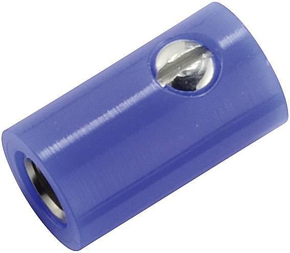 Mini laboratórna zásuvka – zásuvka, rovná, Ø hrotu: 2.6 mm, modrá, 1 ks