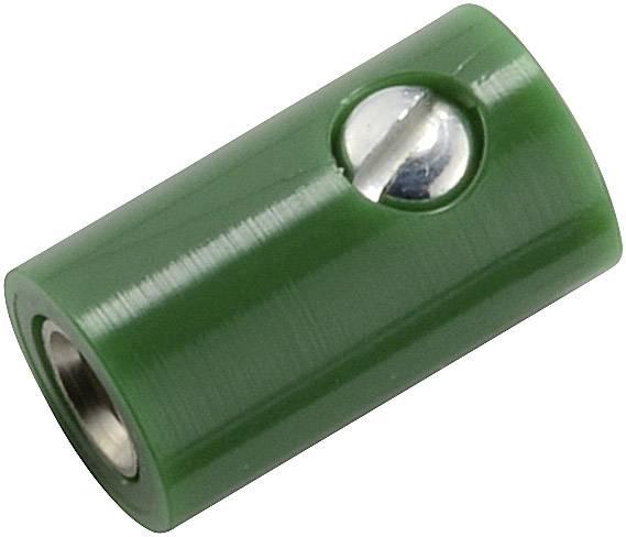 Mini laboratórna zásuvka – zásuvka, rovná, Ø hrotu: 2.6 mm, zelená, 1 ks