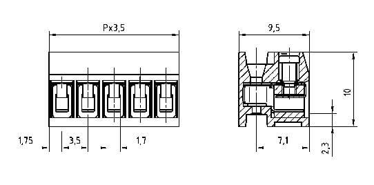 Skrutkovacia svorka PTR AK1350/6DS-3.5 51350060001G, 1.50 mm², Počet pinov 6, sivá, 1 ks