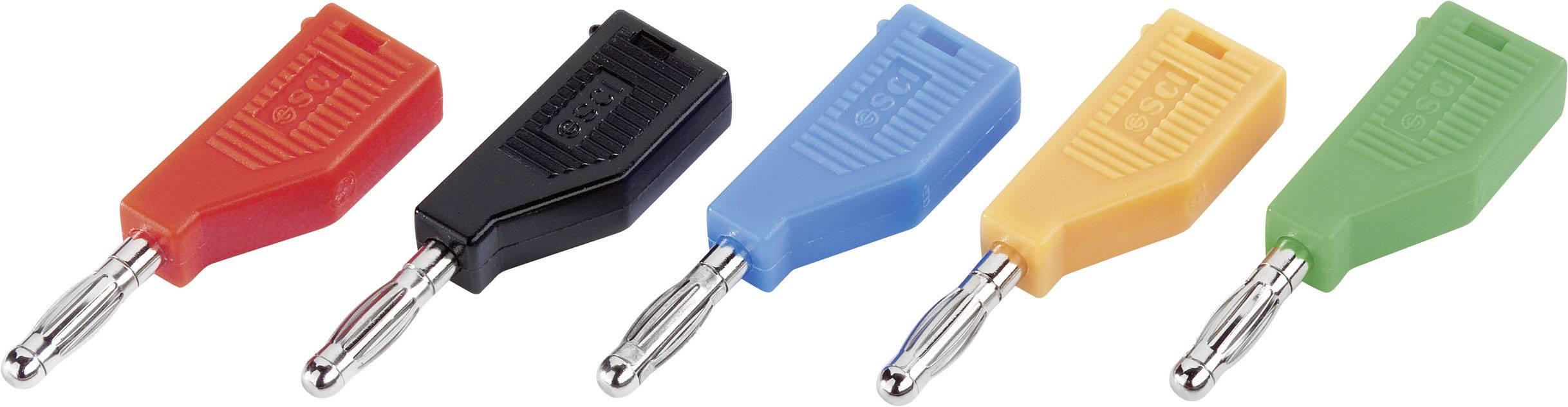 Banánový konektor SCI R8-B19 BL – zástrčka, rovná, Ø hrotu: 4 mm, modrá, 1 ks