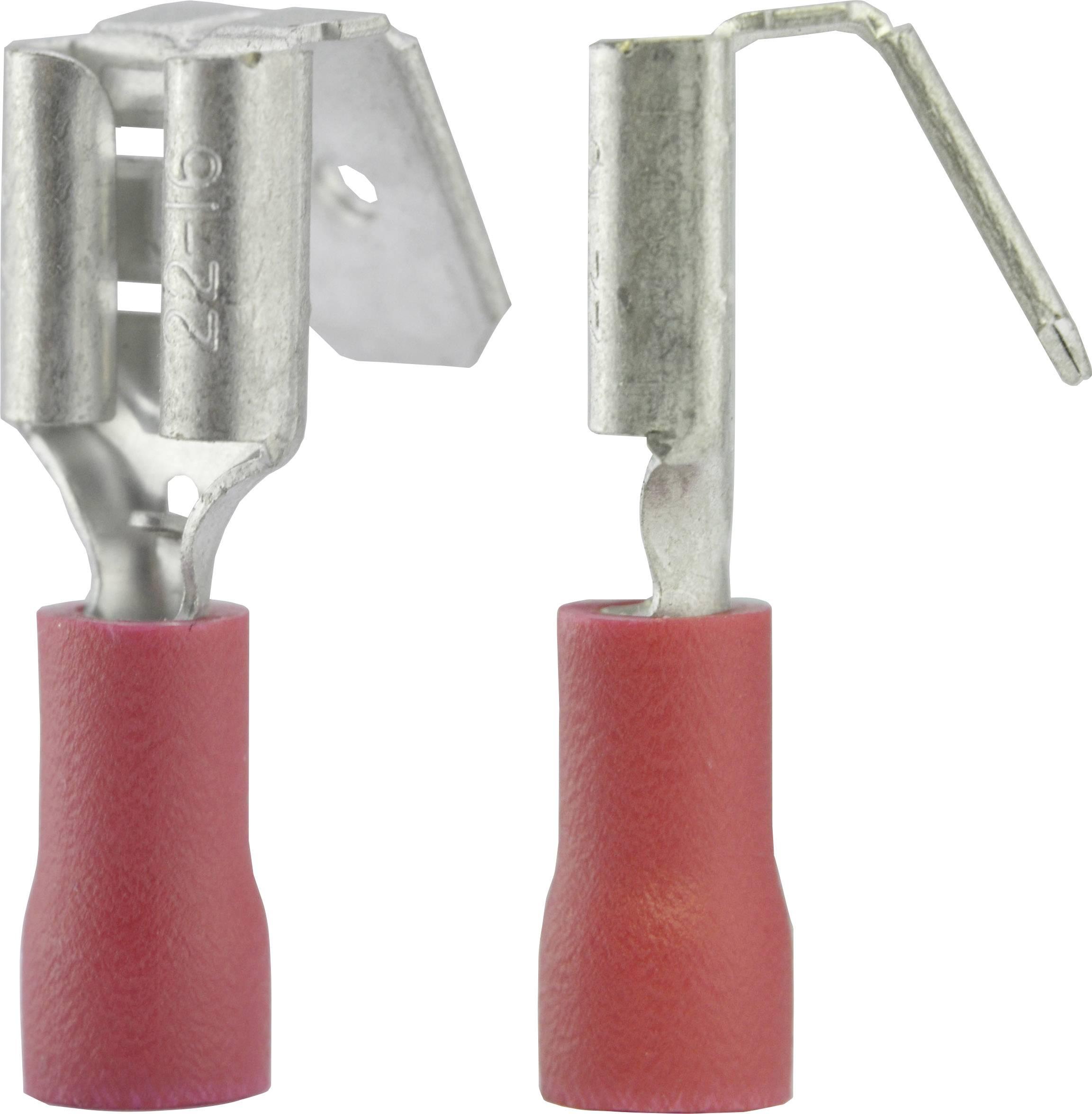 Faston zásuvka Vogt Verbindungstechnik 3925S s odbočkou, 6.3 mm x 0.8 mm, 180 °, částečná izolace, červená, 1 ks