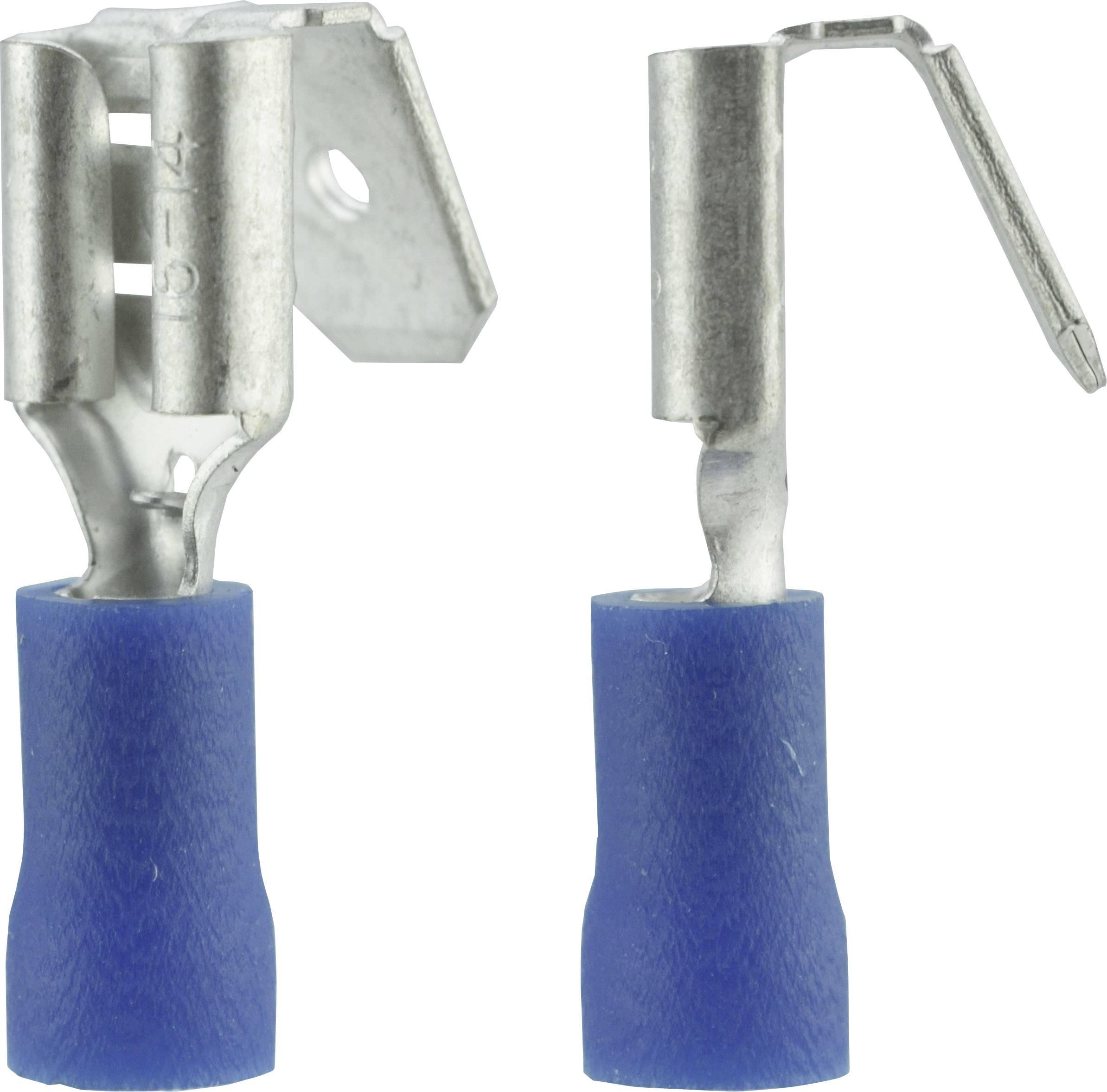 Faston zásuvka Vogt Verbindungstechnik 3926S s odbočkou, 6.3 mm x 0.8 mm, 180 °, částečná izolace, modrá, 1 ks