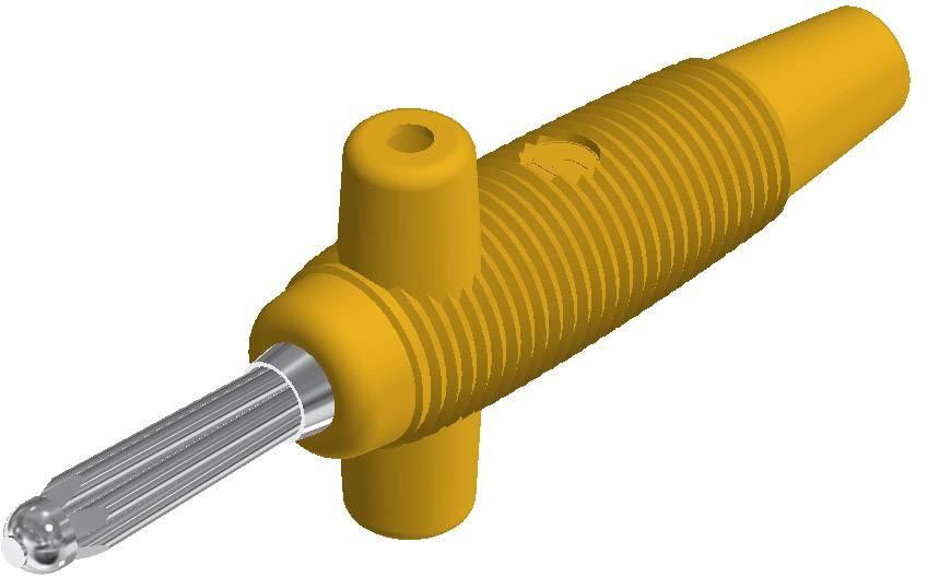 Banánový konektor SKS Hirschmann Buela 300 K – zástrčka, rovná, Ø hrotu: 4 mm, žltá, 1 ks