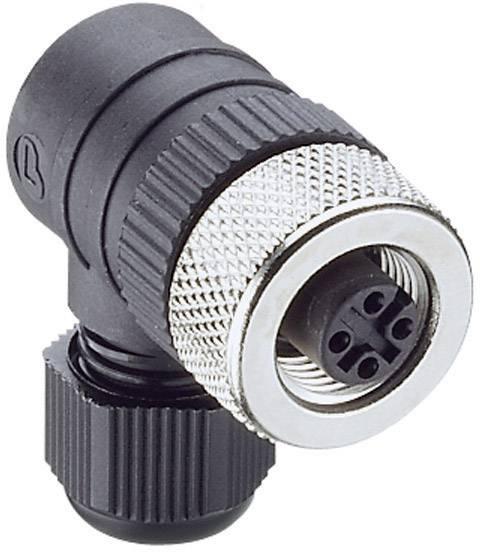 Výkonová zásuvka úhlová Lumberg RKCW 4/9 (108656), M12, úhlová, 4 - 8 mm, černá