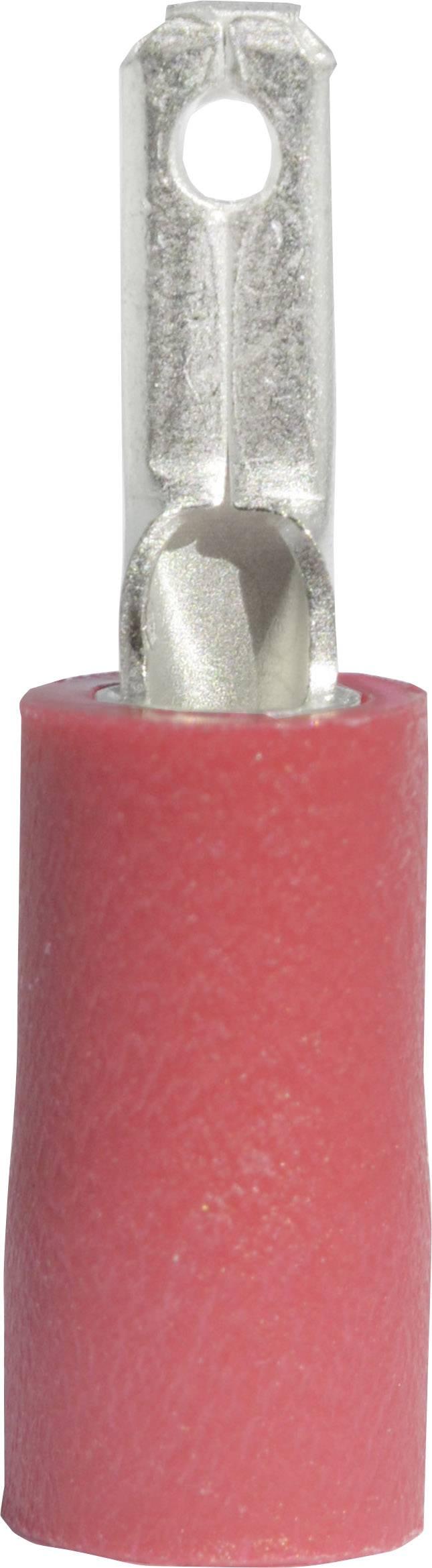Faston konektor zástrčka Vogt Verbindungstechnik 391308S 2.8 mm x 0.8 mm, 180 °, čiastočne izolované, červená, 1 ks