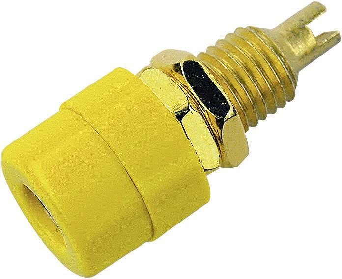 Laboratórna zásuvka SKS Hirschmann BIL 20 Au – zásuvka, vstavateľná vertikálna, Ø hrotu: 4 mm, žltá, 1 ks