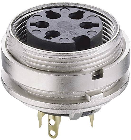 DIN kruhový konektor zásuvka, vestavná vertikální Lumberg KGV 60, pólů 6, stříbrná, 1 ks