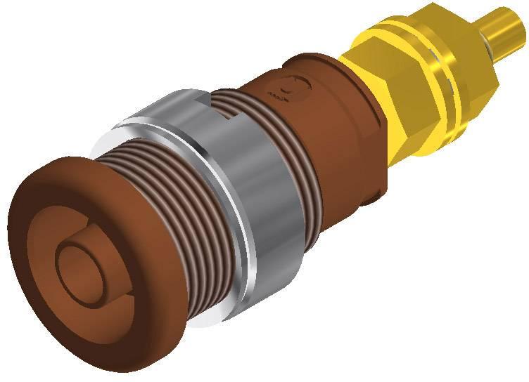 Labor. zásuvka SKS Hirsch. CO SEB 2600 G M4 (972354105), vestavná vertik., Ø 4 mm, hnědá