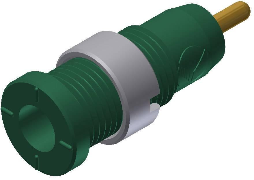 Bezpečnostná laboratórna zásuvka SKS Hirschmann MSEB 2630 S 1,9 Au – zásuvka, vstavateľná vertikálna, Ø hrotu: 2 mm, zelená, 1 ks