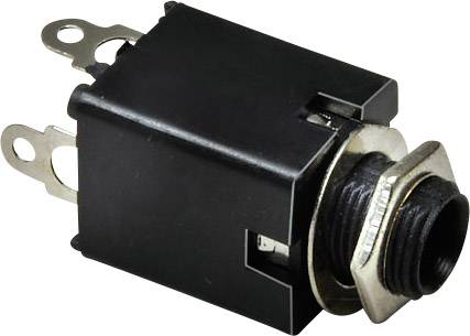 Jack konektor 6.35 mm TRU COMPONENTS zásuvka, vestavná vertikální, pólů 3, stereo, stříbrná, poniklovaný, 1 ks