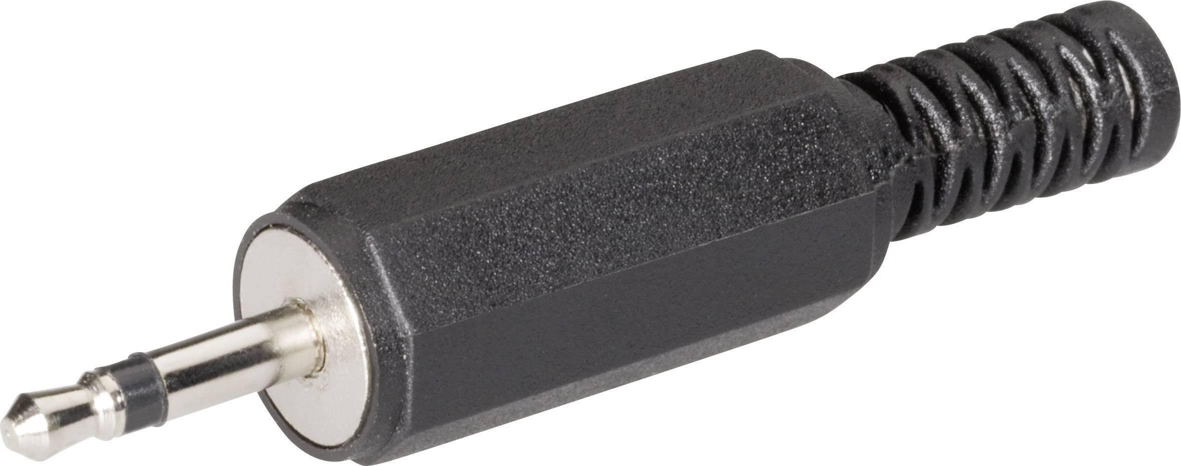Jack konektor 2.5 mm čiernobiela zástrčka, rovná BKL Electronic 072117, počet pinov: 2, čierna, 1 ks