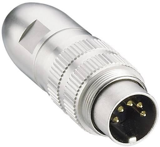 DIN kruhový konektor Lumberg 0332 04 – zástrčka, rovná, Pólů: 4, stříbrná, 1 ks