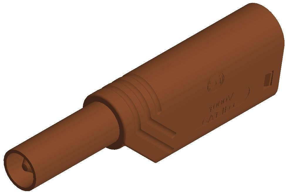 Bezpečnostná lamelová zástrčka SKS Hirschmann LAS S G – zástrčka, rovná, Ø hrotu: 4 mm, hnedá, 1 ks