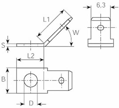 Jazýček konektora Vogt Verbindungstechnik 3847.60 6.3 mm x 0.8 mm, 45 °, neizolované, kov, 1 ks