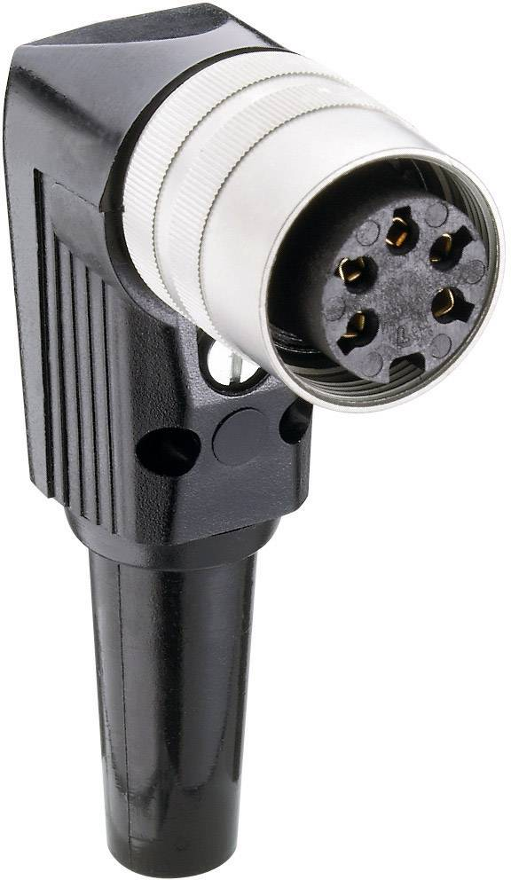 DIN kruhový konektor zásuvka, zahnutá Lumberg WKV 81, pólů 8, stříbrná, 1 ks