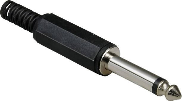 Jack konektor 6.35 mm čiernobiela zástrčka, rovná BKL Electronic 1107001, počet pinov: 2, čierna, 1 ks