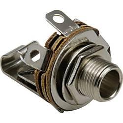 Jack konektor 6.35 mm čiernobiela zásuvka, vstavateľná vertikálna BKL Electronic 1109001, pinov 2, strieborná, 1 ks