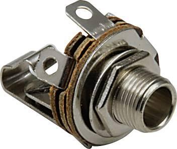 Jack konektor 6.35 mm čiernobiela zásuvka, vstavateľná vertikálna BKL Electronic 1109001, počet pinov: 2, strieborná, 1 ks