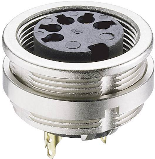 DIN kruhový konektor zásuvka, vestavná vertikální Lumberg 0304 08, pólů 8, stříbrná, 1 ks