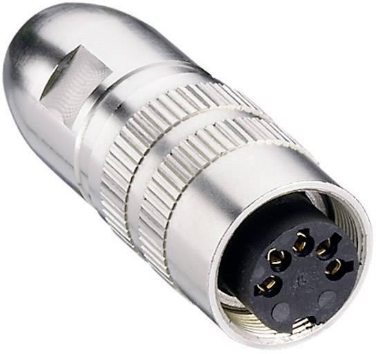 DIN kruhový konektor Lumberg 0321 04 – zásuvka, rovná, Pólů: 4, stříbrná, 1 ks