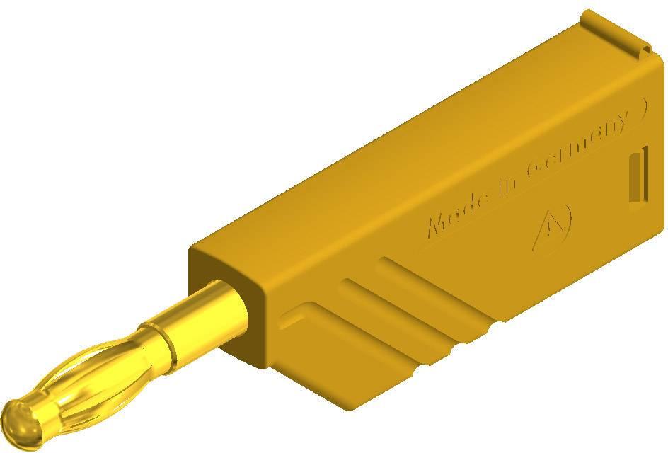 Lamelová zástrčka SKS Hirschmann LAS N WS Au – zástrčka, rovná, Ø hrotu: 4 mm, žltá, 1 ks