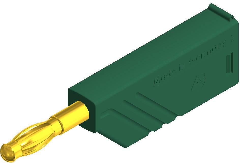 Lamelová zástrčka SKS Hirschmann LAS N WS grün Au – zástrčka, rovná, Ø hrotu: 4 mm, zelená, 1 ks