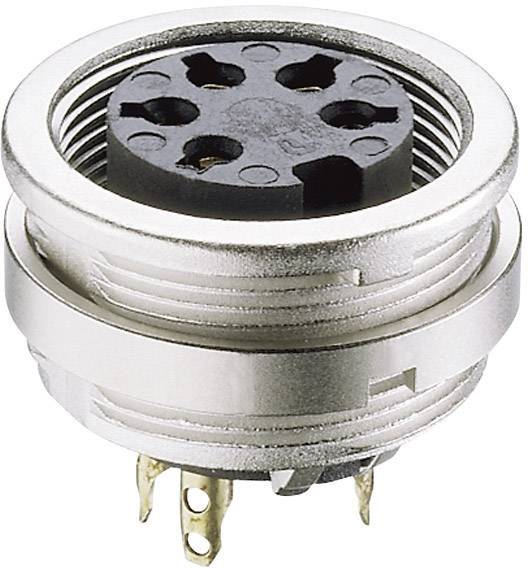 DIN kruhový konektor Lumberg KFV 50/6, zásuvka, vestavná vertikální, pólů 5, stříbrná, pozlacený, 1 ks
