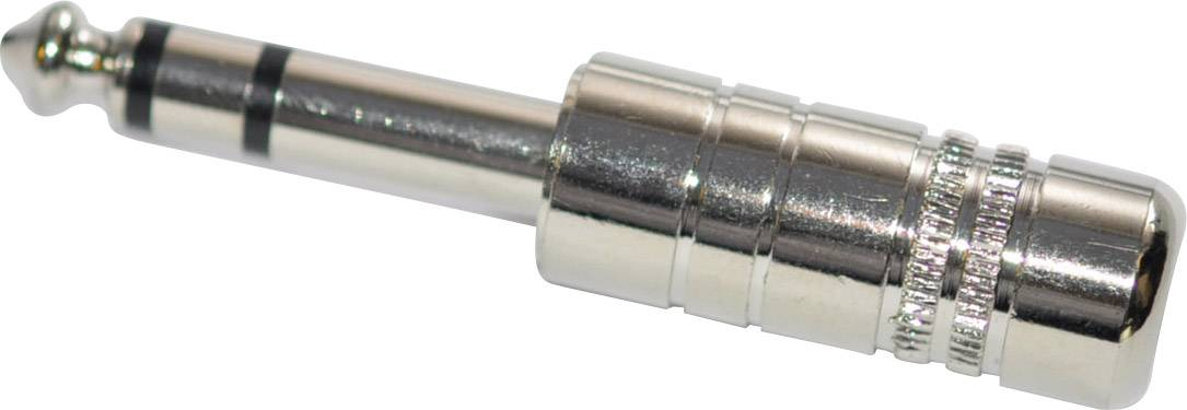 Jack konektor 6.35 mm stereo zástrčka, rovná počet pinov: 3, strieborná, 1 ks