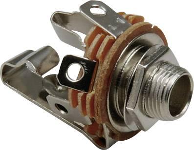 Jack konektor 6.35 mm stereo zásuvka, vstavateľná vertikálna BKL Electronic 1109002, počet pinov: 3, strieborná, 1 ks