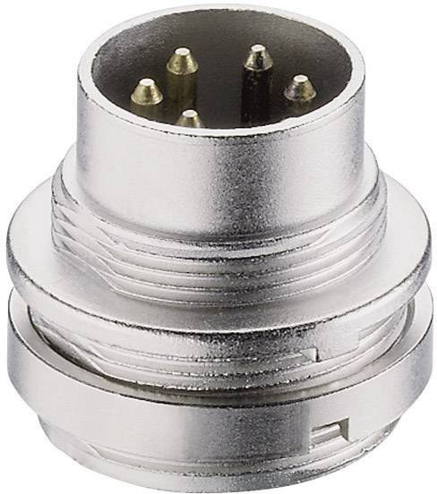 DIN kruhový konektor Lumberg SFV 40, zástrčka, vestavná rovná, pólů 4, stříbrná, pozlacený, 1 ks