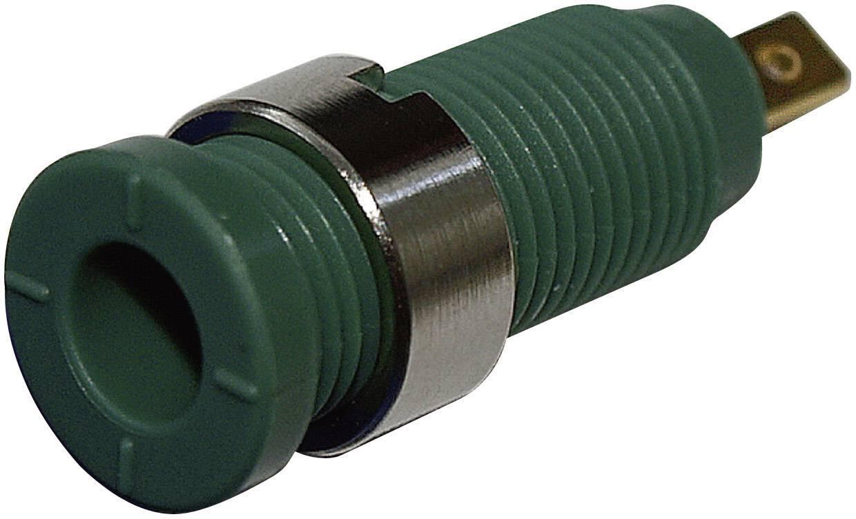 Bezpečnostná laboratórna zásuvka SKS Hirschmann MSEB 2610 F 2,8 Au – zásuvka, vstavateľná vertikálna, Ø hrotu: 2 mm, zelená, 1 ks
