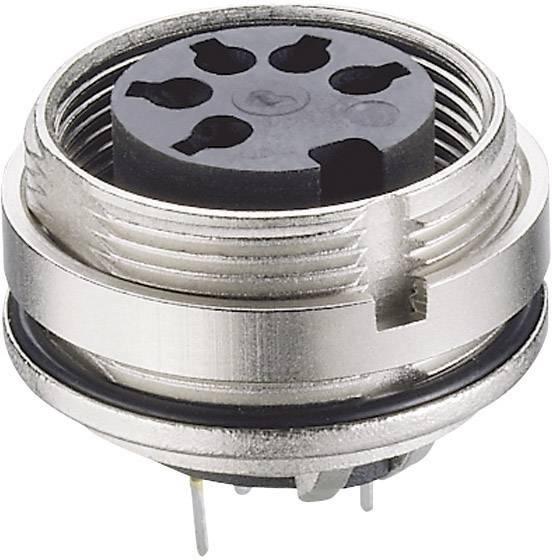 DIN kruhový konektor Lumberg 0307 06, zásuvka, vestavná vertikální, pólů 6, stříbrná, pozlacený, 1 ks