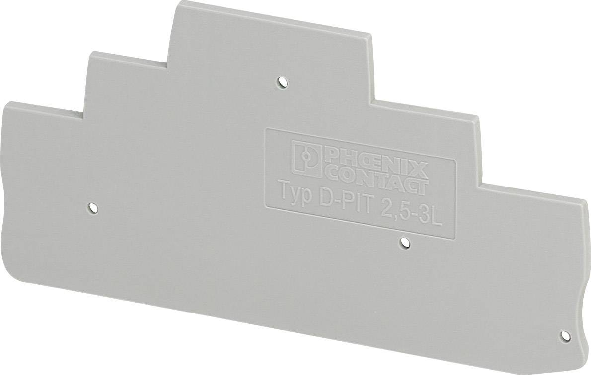 Koncová destička Phoenix Contact D-PIT 2,5-3L (3211647), šedá