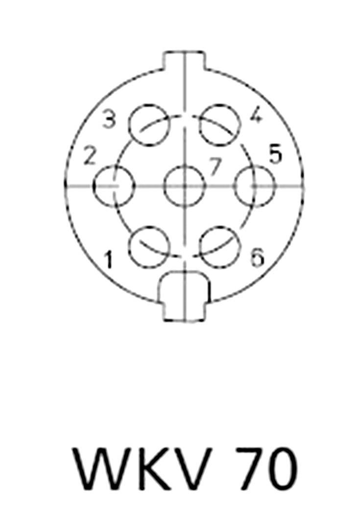 DIN kruhový konektor zásuvka, zahnutá Lumberg WKV 70, pólů 7, stříbrná, 1 ks