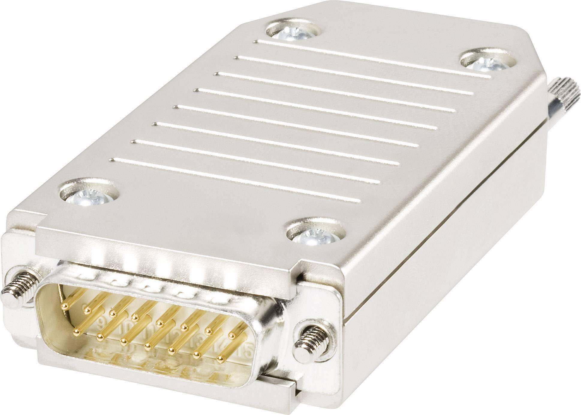D-SUB zástrčka Knorr Tec 10015820, 180 °, počet pinov 15, pružinová svorka, 1 ks