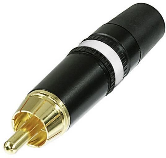Cinch konektor zástrčka, rovná Rean AV NYS373-9, pólů 2, černá, bílá, 1 ks