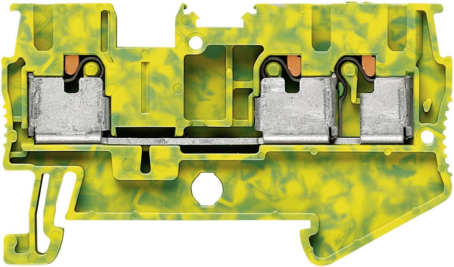 Svorka Push-in Phoenix Contact PIT 2,5-TWIN-PE (3209565), s ochr. vodičem, 5,2 mm, zel/žlut