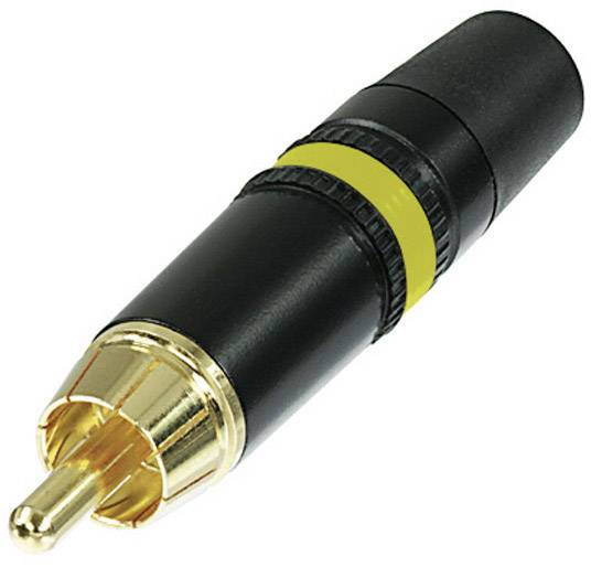 Cinch konektor zástrčka, rovná Rean AV NYS373-4, počet pinov: 2, čierna, žltá, 1 ks